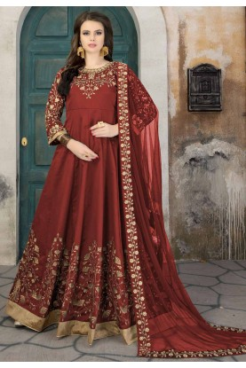 Anarkali Salwar Kameez in Maroon Color & Silk Fabric