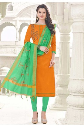Orange Cotton Incredible Unstitched Salwar Kameez