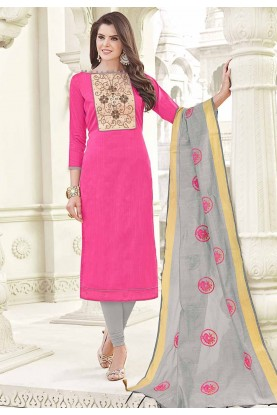 Nice Looking Pink Color Cotton Salwar Kameez