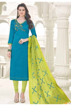 Straight Cut Style Blue Cotton Casual Salwar Kameez