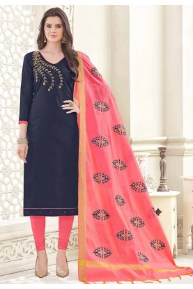 Blue Cotton Salwar Kameez