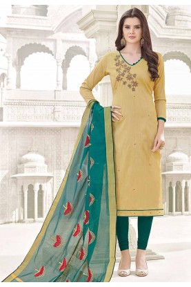Beautiful Beige Cotton Salwar Kameez
