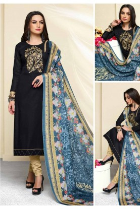 Wonderful Black Cotton Casual Salwar Kameez