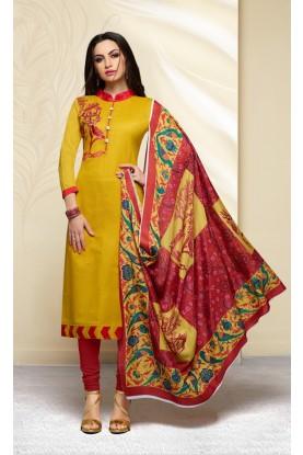 Yellow Cotton Salwar Kameez