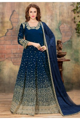 Beautiful Looking Blue Color Silk Designer Slawar Kameez