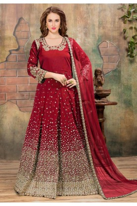Wonderful Red Color Silk Fabric Anarkali Salwar Kameez