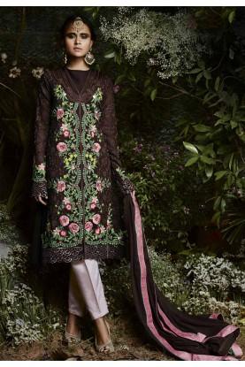 Wonderful Brown Color Georgette Party Wear Salwar Kameez