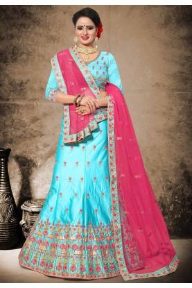 Attractive Turquoise Color Velvet,Satin Designer Lehenga Choli