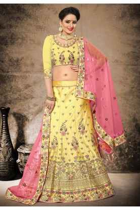 Yellow Color Velvet,Satin Designer Bridal Lehenga Choli in Resham,Zari,Stone Work
