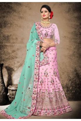 Pink Color Velvet,Satin Fabric Designer Wedding Lehenga Choli.