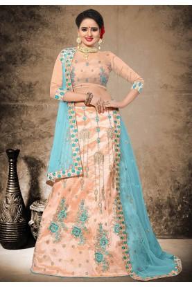 Peach Color Silk Lehenga Choli in Resham,Zari,Stone Work