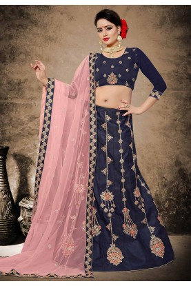 Blue Color Velvet,Satin Fabric Lehenga Choli in Resham,Zari,Stone Work