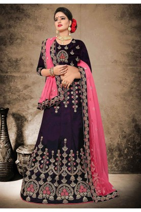 Beautiful Magenta Color Velvet,Satin Fabric Designer Lehenga Choli