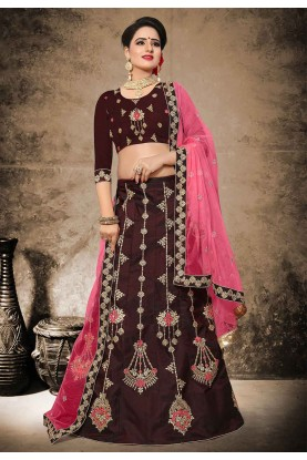 Velvet,Satin Lehenga Choli in Brown Color