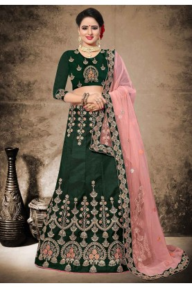Green Color Velvet,Satin Fabric Lehenga Choli in Resham,Zari,Stone Work