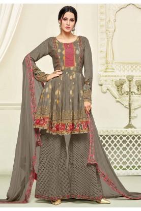 Brown Color Georgette Fabric Designer Salwar Kameez