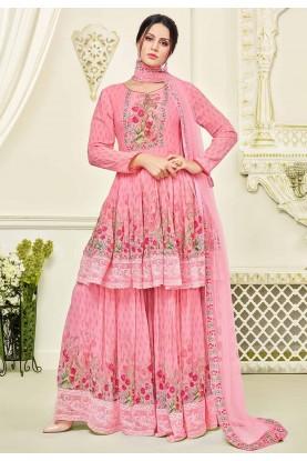 Beautiful Pink Color Georgette Salwar Kameez With Digital Print,Embroidery  Work