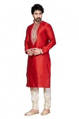 Red Color Dupion Silk Designer Kurta Pyjama With Thread,Embroidery Work.