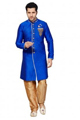 Blue Color Silk Party Wear Kurta Pajama.