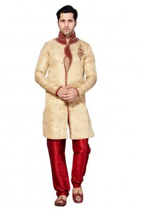Golden Color Jacquard Fabric Indian Wedding Kurta Pajama With Hand Work