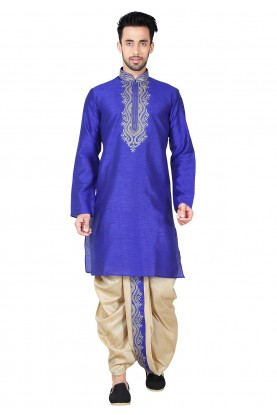 Buy Dhoti Kurta Online for Men in Blue Color