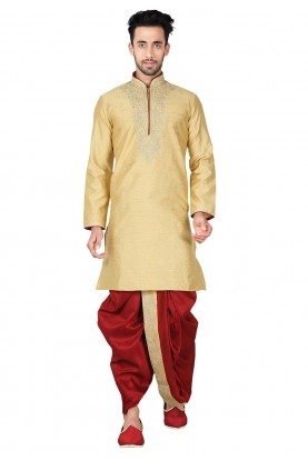 Buy Dhoti Kurta Online for Men in Exquisite Band Collar
