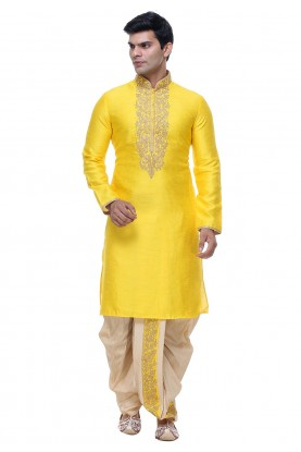 Buy Dhoti Kurta Online for Men in Yellow Color