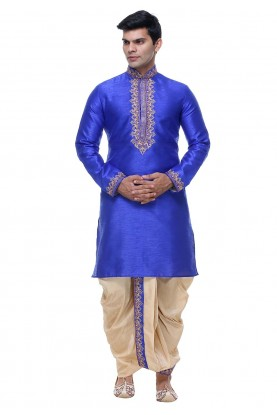 Silk: Buy Dhoti Kurta Online for Men in Blue Color