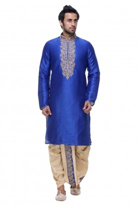 Blue Color Silk Designer Dhoti Kurta Pajama Online India