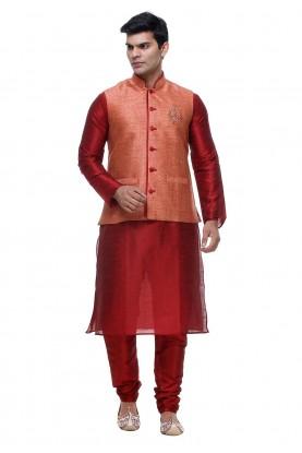 Maroon Color Silk Readymade Kurta Pajama.