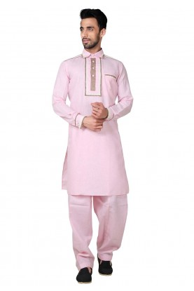 Pink Color Cotton,Linen Fabric Pathani Kurta Pajama Online