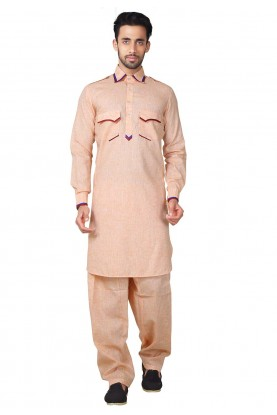 Orange Color Readymade Pathani Kurta Pajama Online