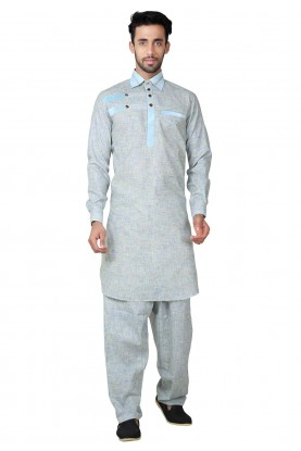 Grey Color Readymade Pathani Kurta Pajama Online