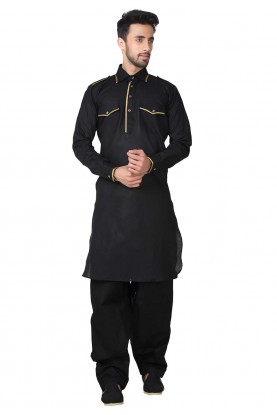 Exquisite Black Color Pathani Kurta Pajama Online