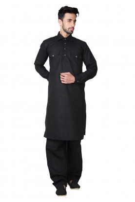 Black Color Cotton,Linen Fabric Pathani Kurta Pajama Online