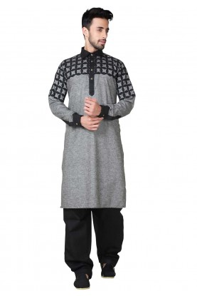 Black,Grey Color Readymade Pathani Kurta Pajama Online