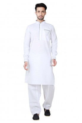 Exquisite White Color Cotton,Linen Readymade Pathani Kurta Pajama Online