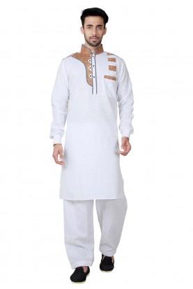 White Color Cotton, Linen Readymade Pathani Kurta Pajama Online