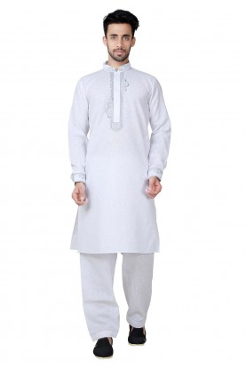 White Color Cotton Pathani Kurta Pajama Online