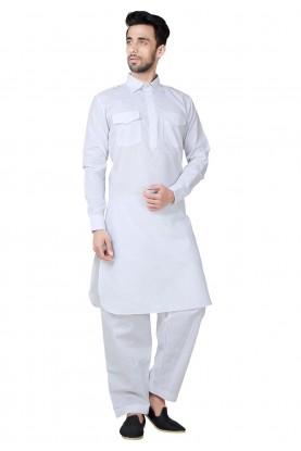 White Color Readymade Pathani Kurta Pajama Online