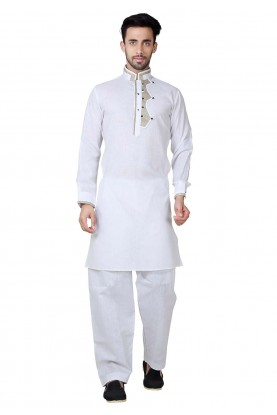 Exquisite White Color Pathani Kurta Pajama Online
