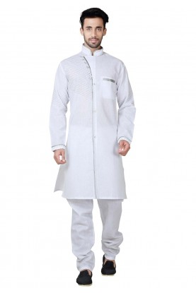 Exquisite White Color Cotton,Linen Fabric Pathani Kurta Pajama Online