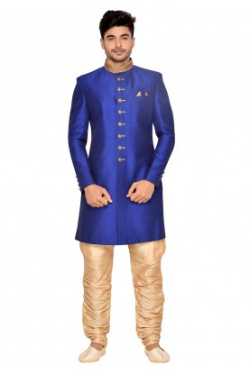Royal Blue Men's Indowestern.