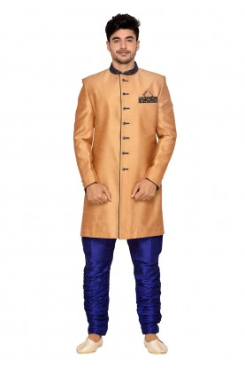 Golden,Orange Color Men's Indowestern.