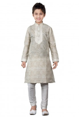 Beige,Cream Color Boy's Printed Kurta Pajama.