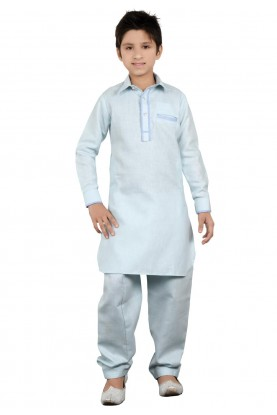 Sky Blue Color Boy's Pathani Kurta Pajama.