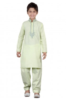 Green Color Boy's Pathani Kurta Pajama.