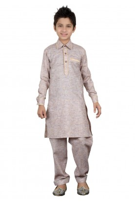 Grey Color Boy's Pathani Kurta Pajama.