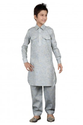 Grey Color Cotton Pathani Kurta Pajama