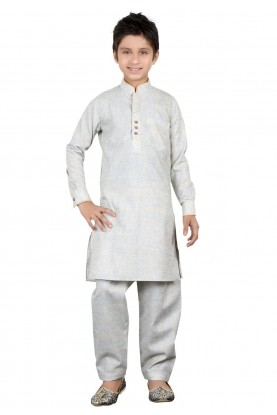 Boy's Beige,Golden Color Readymade Kurta Pajama.